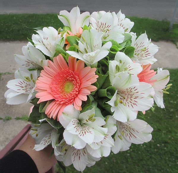 Peach Gerbera Daisy and White Alstroemeria Bouquet