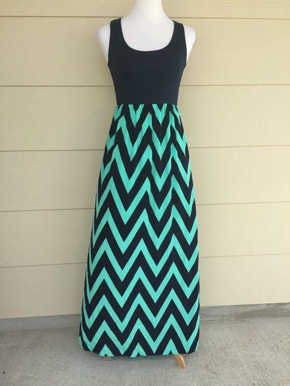 Chevron Dress maxi Dress mini maxi dress navy mint by DecorPlace