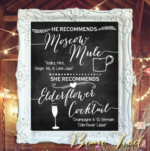 Signature Cocktails Wedding Chalkboard Bar Menu by BeauTiedAffair