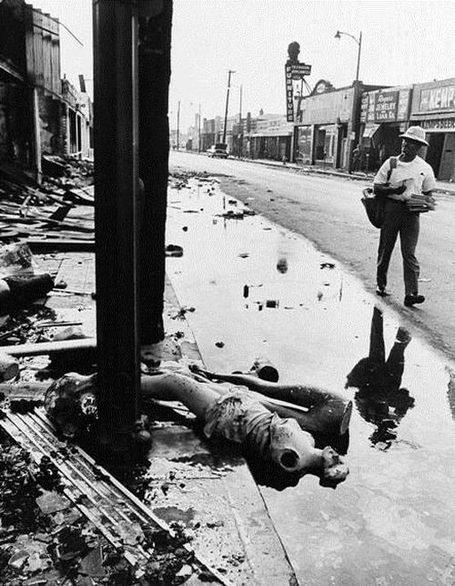 Aftermath of the Watts Riots (or Watts Rebellion). A race riot that took place in the Watts neighborhood of Los Angeles from August 11 to 17, 1965. The six-day unrest resulted in 34 deaths, 1,032 injuries, 3,438 arrests, and over $40 million in property damage. It was the most severe riot in the city's history until the Los Angeles riots of 1992.