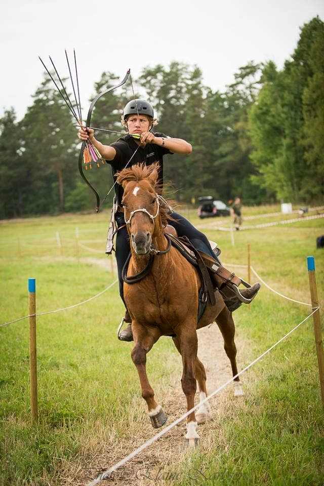 Barco and Emil Eriksson, Norrlands Beridna Bågskyttar in Korean style at the Swedish Nationals in horseback archery, Söderköping August 2014. Silver medal! Photo: Elaine Karlsson