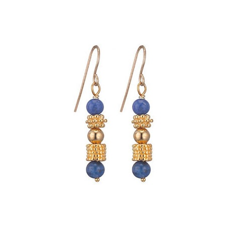 Delivery        These Greek Bead and Lapis earrings is adorned with lapis lazuli and based on a beaded necklace (Greek, about 400 B.C.) found in Pantikapaion.        The original necklace features fine gold granulation, an ancient form of jewellery ornamentation. Ancient Greek jewellery, unlike that of the Egyptians or Romans, tended to include gemstones, often decorated with gold granulation. £60.00
