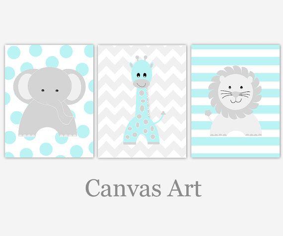 baby boy nursery art teal gray grey aqua elephant giraffe lion canvas prints baby nursery decor