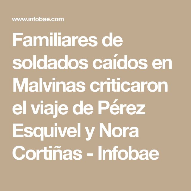 Familiares de soldados caídos en Malvinas criticaron el viaje de Pérez Esquivel y Nora Cortiñas - Infobae
