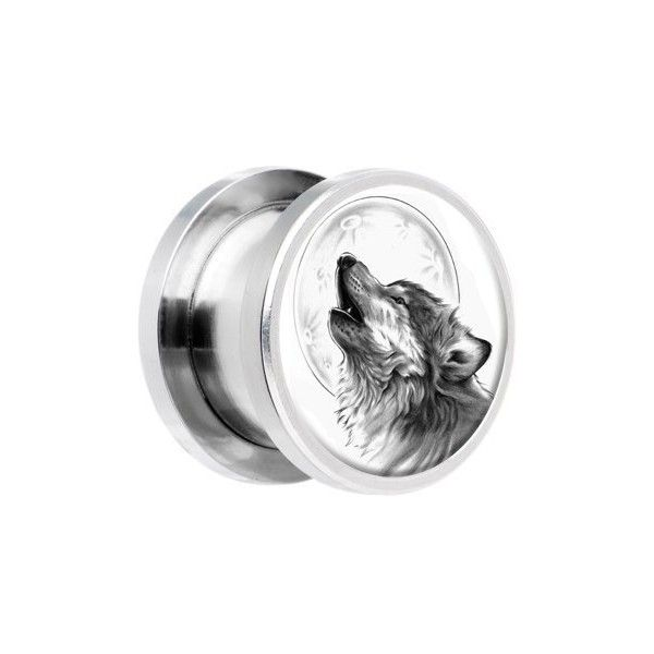 Body Candy 0 Gauge Steel Howling Wolf Screw Fit Plug ❤ liked on Polyvore