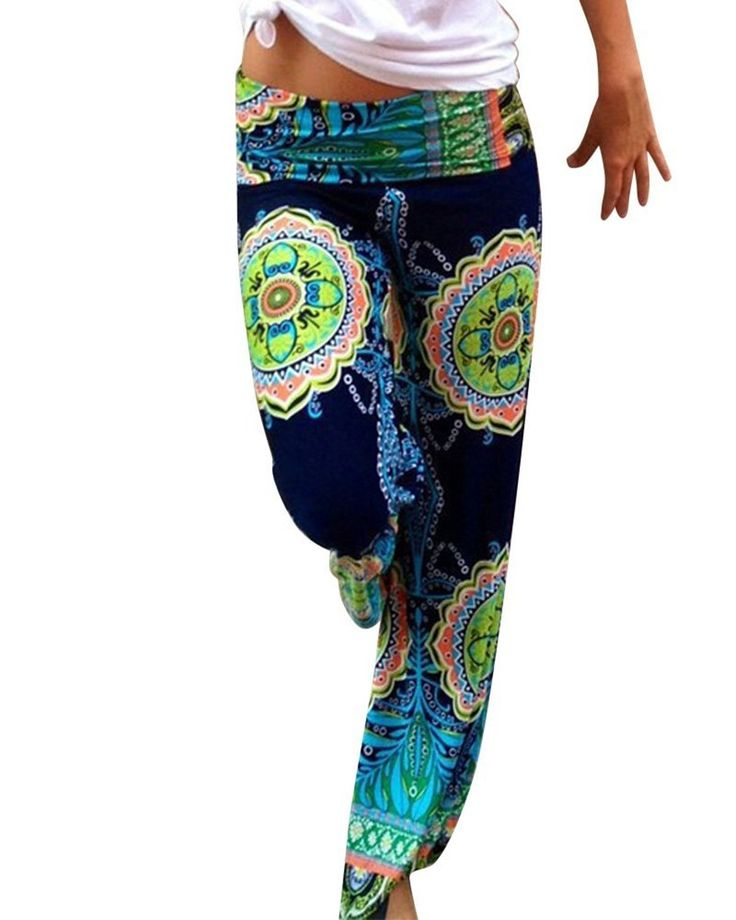 Moollyfox Damen Frauen-Harem Wide Leg Yoga Lose Lange Baggy Hosen Elegante Ethno Palazzo Hosen: Amazon.de: Bekleidung