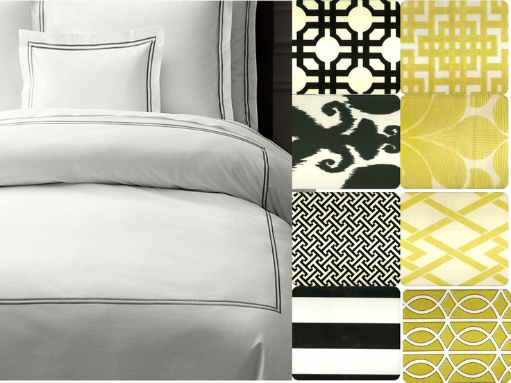 Design Board - White Bedding With Black And Yellow Accents
