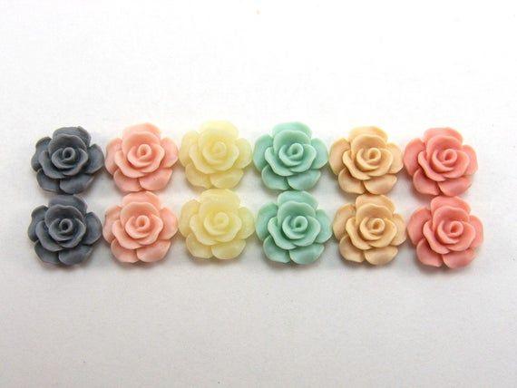 20 x 10mm Hot Pink Resin Flat Back Flower Cabochons Rose