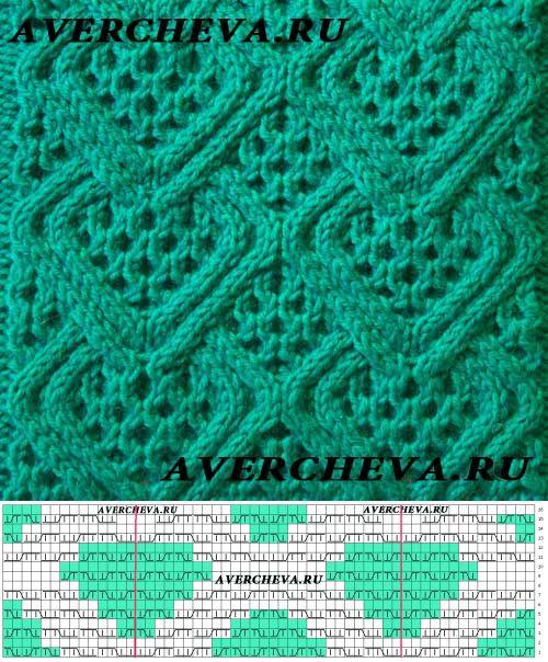 Узор 798 « Ромбы с решеткой»| каталог вязаных спицами узоров