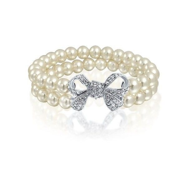 Bling Jewelry Simulated Pearl Bow Stretch Bracelet Double Strand... (29 CAD) ❤ liked on Polyvore featuring jewelry, bracelets, white, stretch bracelet, womens jewellery, bridal jewelry bracelet, white gold bracelet and pandora bracelet