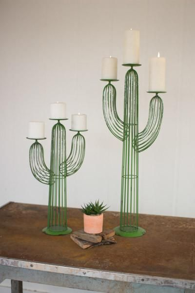 Kalalou Set of Two Wire Cactus Candle Holders
