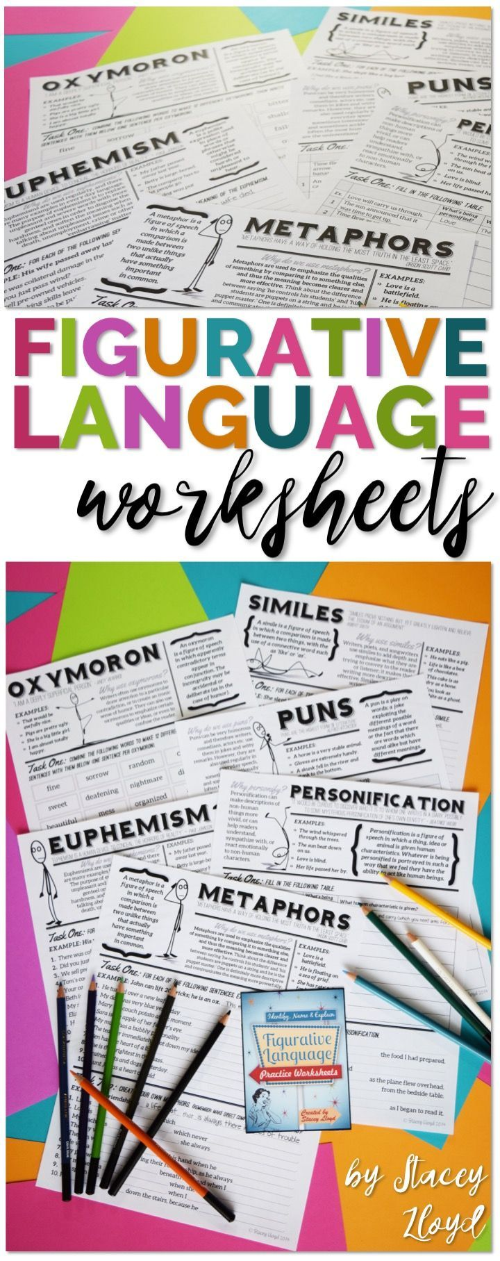Attractive and engaging figurative language worksheets, with definitions, examples and practice exercises.