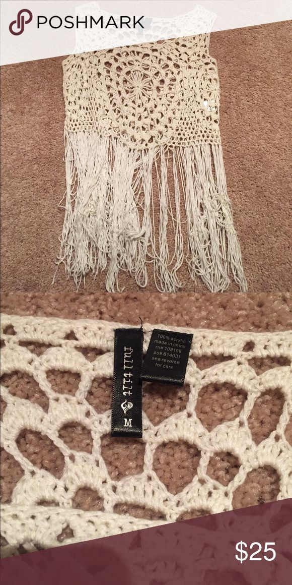 Tillys Crochet Top Crochet top with fringe at the better. I thought I could be cool and wear it with a bandeau underneath, but no. Never worn no flaws Tilly's Tops Tank Tops