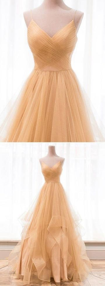 Incredibly Tulle A Line Prom Dress, Sexy Spaghetti Straps Long Evening Dress, Prom Dresses,…