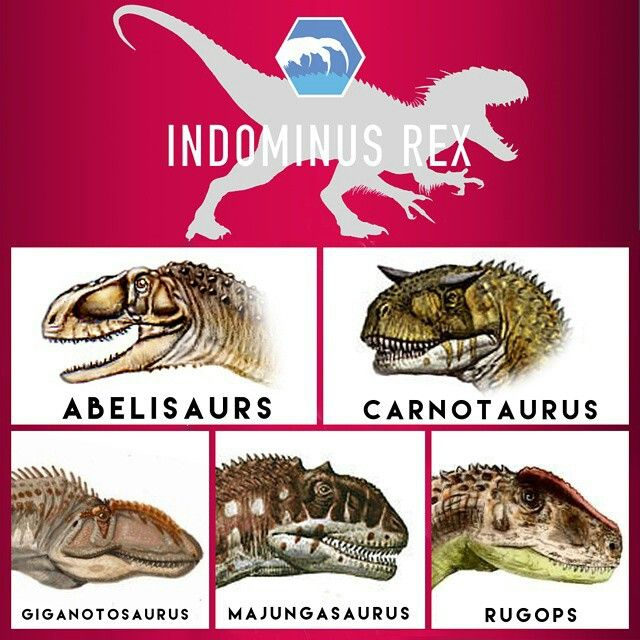 Indominus Rex - The dinosaurs above are all hybridized into the I-Rex osteoderms.