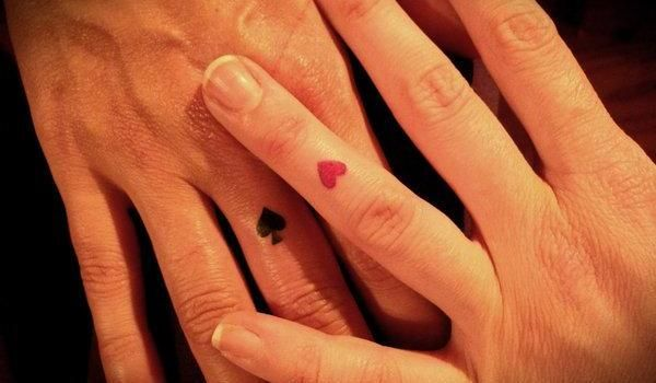 Heart finger tattoo. Love the placement