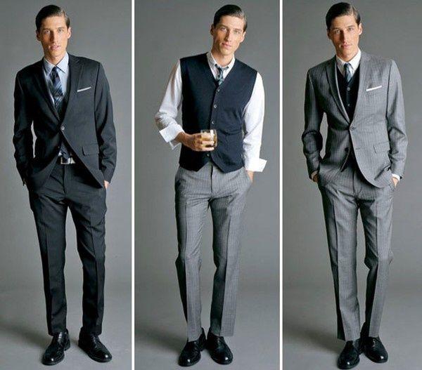 Look de novio vintage Look Mad Men: traje estrecho, corbata estrecha, chaleco y pañuelo