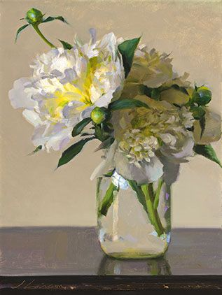 Jeffrey T. Larson - oil painting, floral peonies, peony flower, white, yellow, green, clear jar