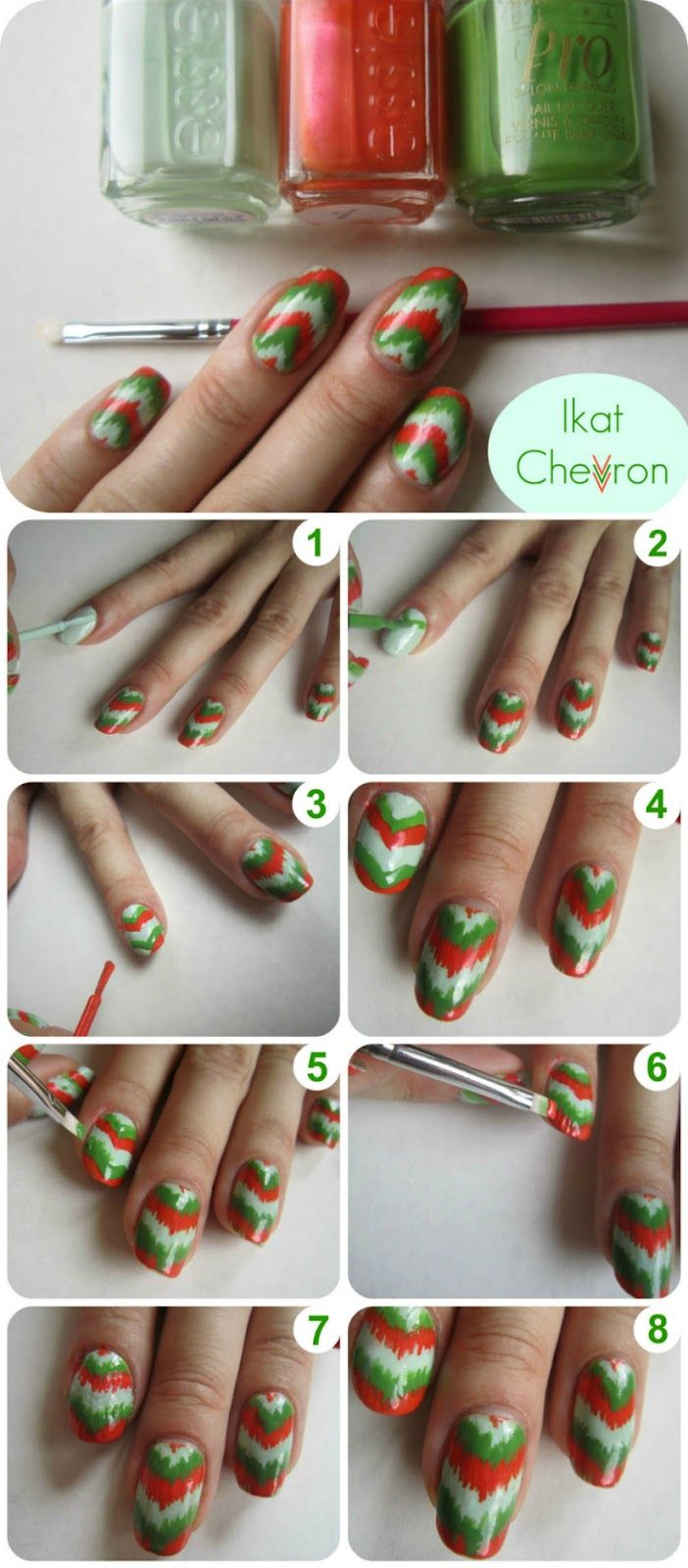 Chevron nail tutorial. Ikat style.: Ikat Chevron, Chevron Nail Tutorials, Nail Polish, Nailart, Style, Nailpolish, Nail Design, Nail Art, Chevron Nails