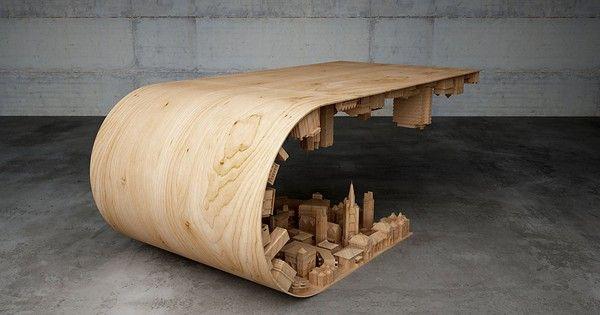 Yunan tasarımcı ve 3 boyutlu modelleme sanatçısı Stelios Mousarris'in insanları şaşırmak için estetik bir amacı vardı ve bunu başarmak için farklı öğeleri bir araya getirerek görsel olarak muhteşem ve kullanışlı bir mobilya ortaya çıkardı. Mousarris'in ''Wave City'' adını verdiği bu gözlere ziyafet masa, 3 boyutlu baskı teknolojisi kullanılarak doğal ve doğal olmayan materyaller ile organik