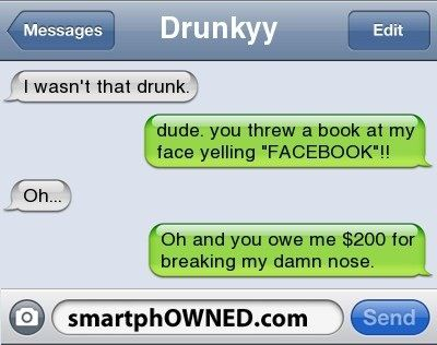 "I am like obsessed with the ""I wasn't that drunk"" texts!! They're awesome!"
