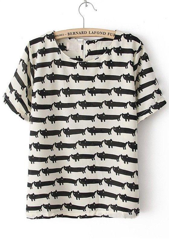 White Little Cat Print Zipper Cotton Blend T-Shirt
