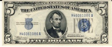 USA 1934A silver certificate uncirculated 5 Dollars
