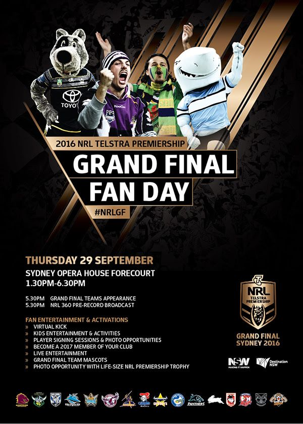 Heaps of #FanEngagement on offer for @NRL fans with this Grand Final Fan Day showcase in Sydney #NRLGF #NRLFinals