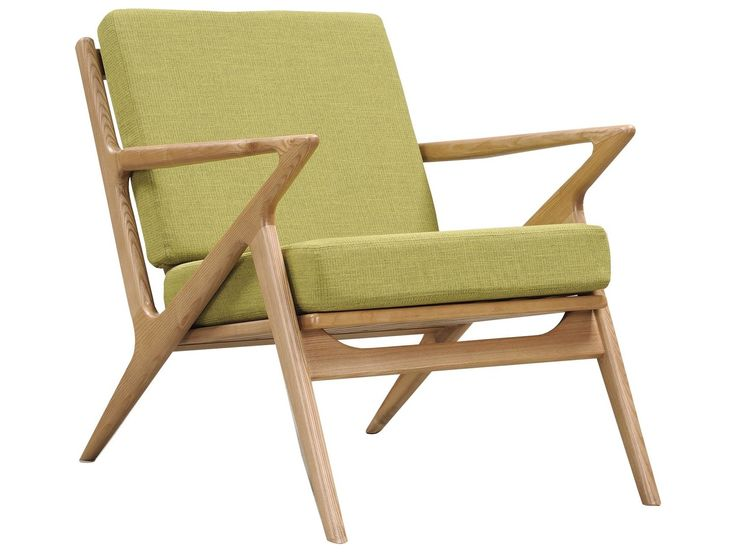 NYEKoncept Zain Avocado Green Accent Chair with Natural Finish