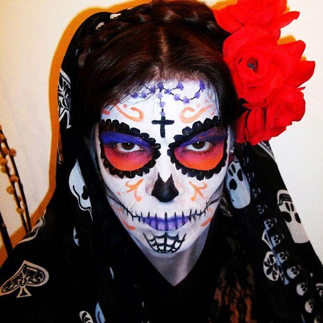 "Sunset Sugar Skull Halloween makeup. Dia de Los Muertos, ""La Catrina"", inspired."