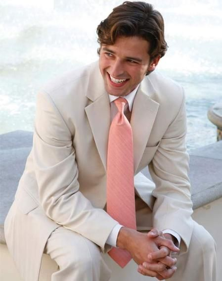 Groom tux  SKU#KA7685 Light Tan 2 Button Wedding Suit $119 Mens Discount Suits By Style and Quality White & Off White Suits
