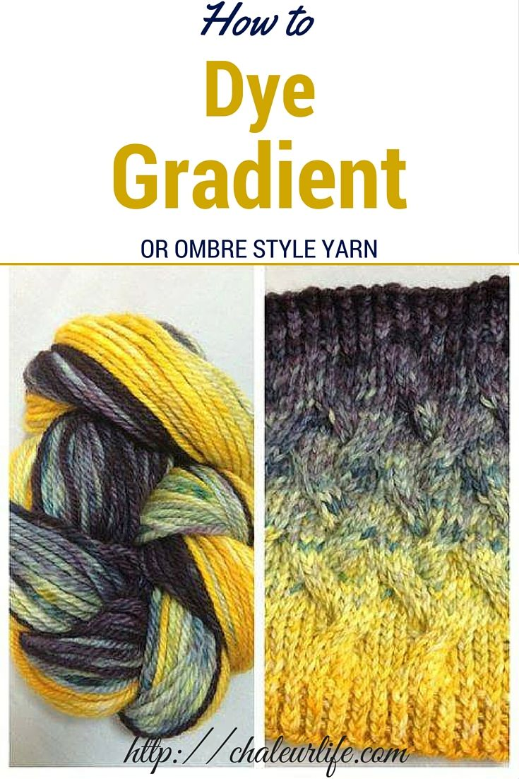 How to Dye a Gradient or Ombre Style Yarn.  DIY yarn dying tutorial, showing you how to dye your own long, gradient yarn.