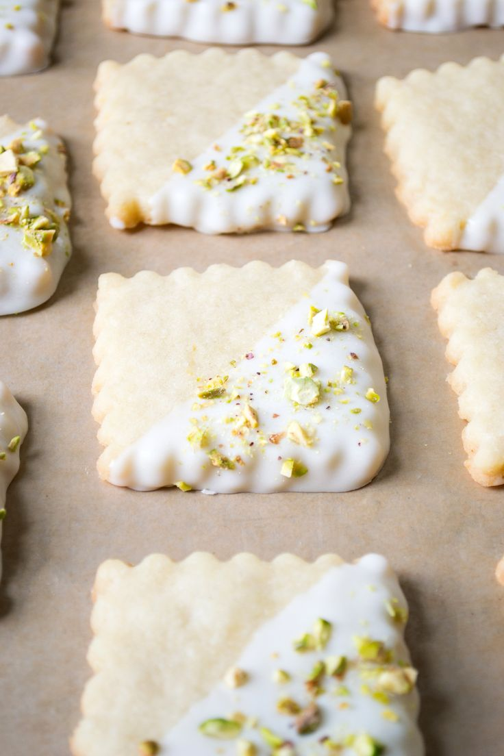 Lemon Shortbread with White Chocolate and Pistachios