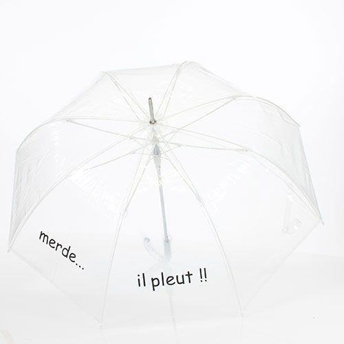 Parapluie transparent Merde... il pleut ! 21.95€