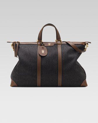 Raffia Top-Handle Duffel Bag by Gucci