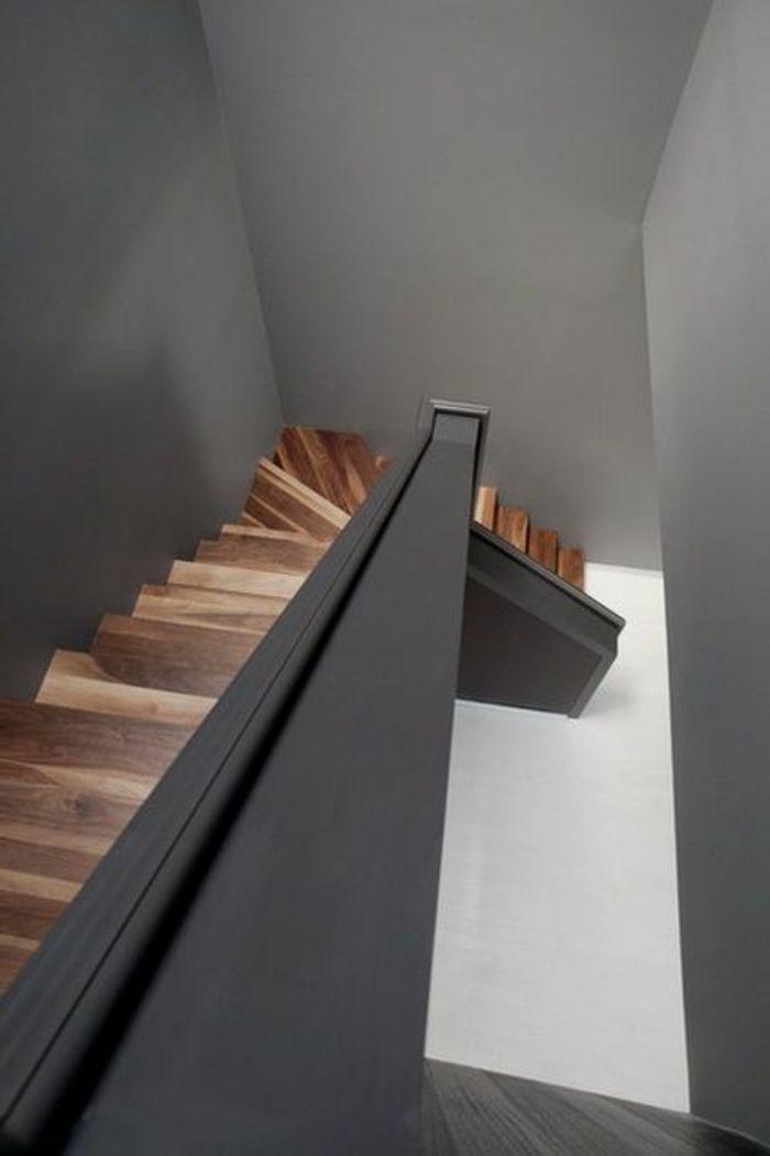 escalier en bois massif, design rampe escalier, maison de luxe