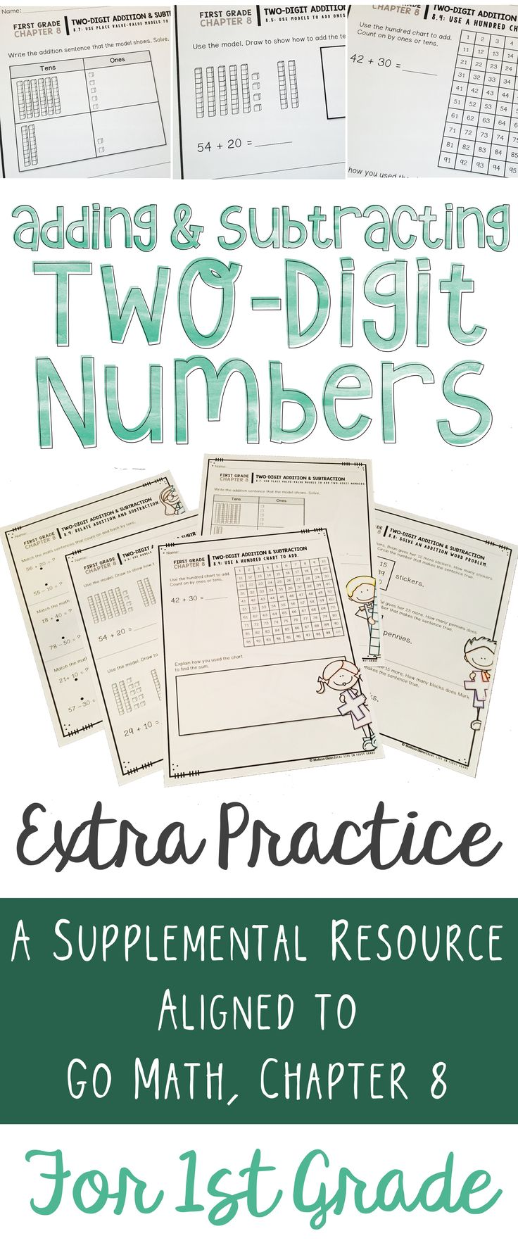 These extra practice pages are perfectly aligned to Go Math Chapter 8 (for first grade). Use them as activities or assessments for your students when teaching two-digit addition and subtraction strategies with and without regrouping. These pages have been an absolute lifesaver in my classroom!