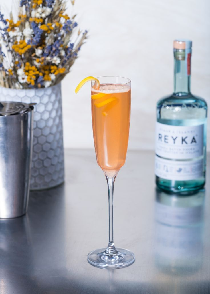 Icelandic Lady 1 part Reyka Vodka ½ part Aperol ½ part Honey Syrup ¼ part Fresh Lemon juice Top with Champagne or Prosecco Combine all ingredients into cocktail shaker. Serve in flute, top with champagne or prosecco and garnish with a lemon peel.