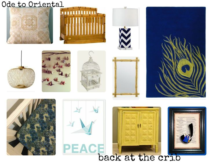 Nursery Look #4: Ode to Oriental Includes back at the crib sheet set in 'Golden Cranes'