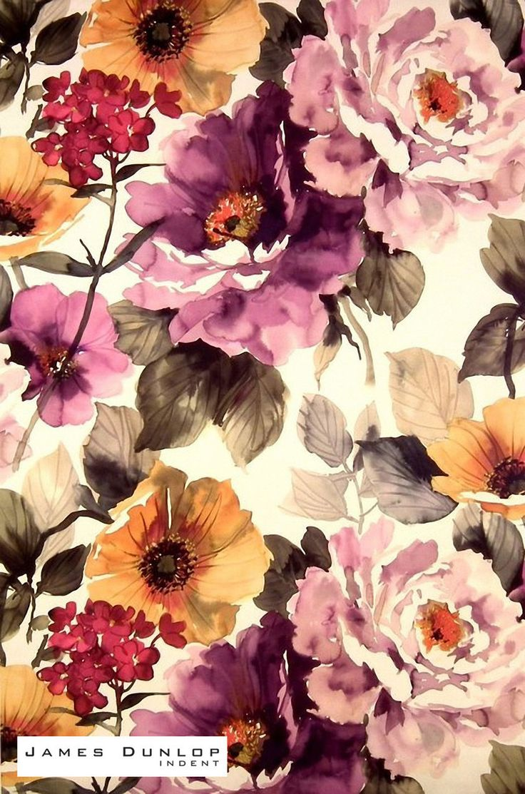 Jd_19913-808 'Grape' | Curtain & Upholstery fabric - Orange, Pink, Floral, Natural fiber, Domestic Use, Natural, Top of Bed