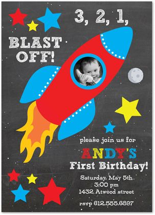 Primary Rocket Ship Chalkboard Birthday Party Invitations - Boy Outer Space Invitations