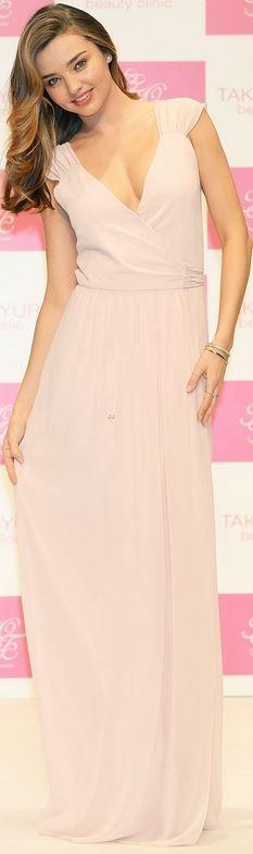 Who made  Miranda Kerr's pink cap sleeve wrap dress?