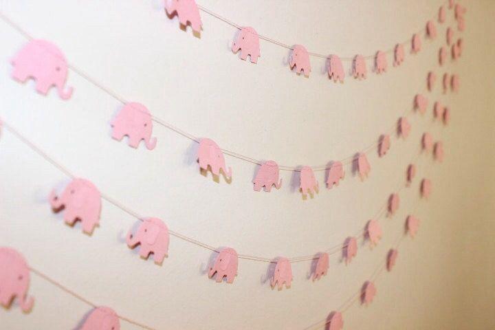 Paper Garland, Baby Pink Elephants. Baby Shower - 1st Birthday - Baby Nursery - Baby Bedroom - Child's Bedroom - Wall Decor. #babyshowerideas4u #birthdayparty  #babyshowerdecorations  #bridalshower  #bridalshowerideas #babyshowergames #bridalshowergame  #bridalshowerfavors  #bridalshowercakes  #babyshowerfavors  #babyshowercakes