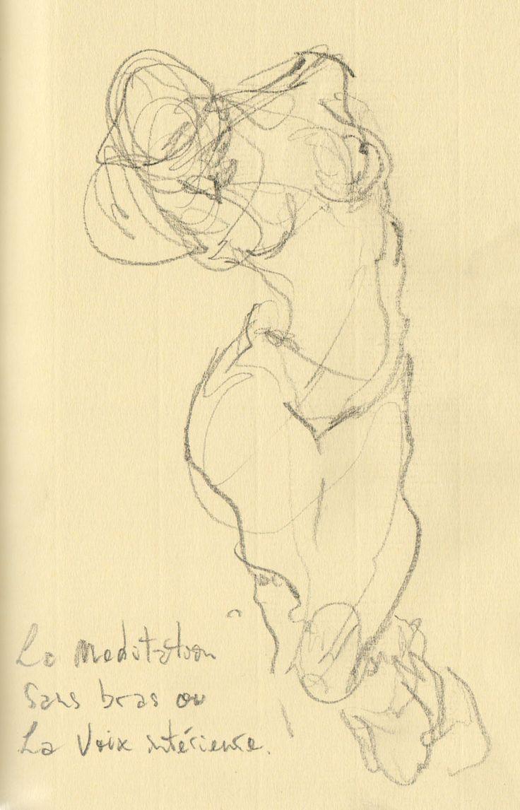 a sketch of Regis Camargo observing one of Rodin sculptures