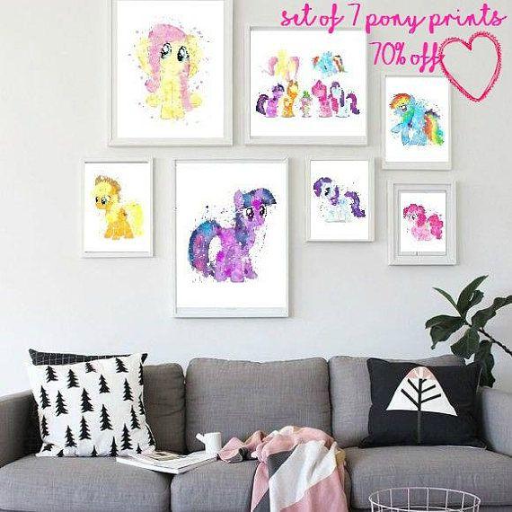 pony watercolor, my little pony, my little pony decor, rainbow dash print, pinky pie poster, apple jack pony, nursery pony decor, kids decor