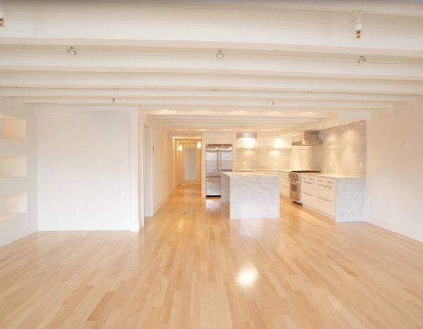 White walls, maple floors