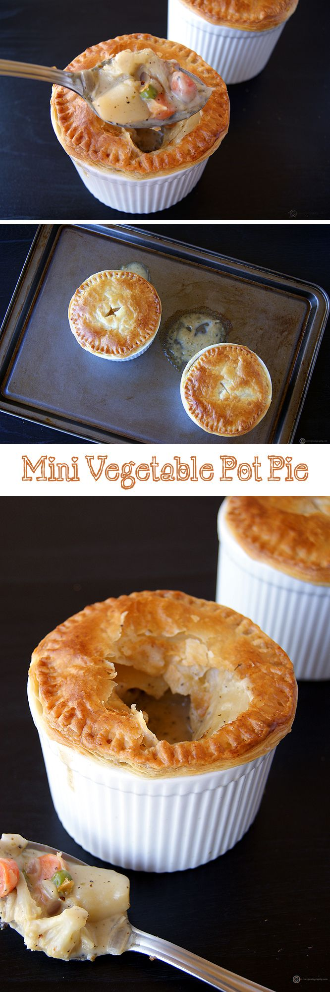 "A wonderful dish to make your kids eat their veggies. Cute looking and extremely delicious ""Mini Vegetable Pot Pie"". A flaky, buttery and crispy puff pastry on top of a creamy and juicy vegetable filling. Can be made Vegan very easily."