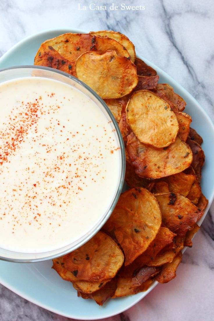 Baked Smoked Paprika Potato Chips with Honey Mustard ...