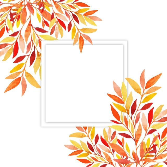Beautiful Watercolor Autumn Leaves Frame Watercolor Paint Frame
