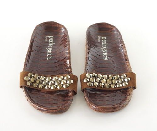 Guaranteed authentic terrific PEDRO GARCIA contoured snakeskin slide. Brilliant gold faceted beading on suede strap. New or Never Worn. Casual chic. NEW or NEVER WORN. final sale SIZE 39 USA SIZE 9 SH